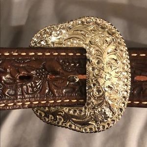 Justin Cowgirl belt with silver buckle